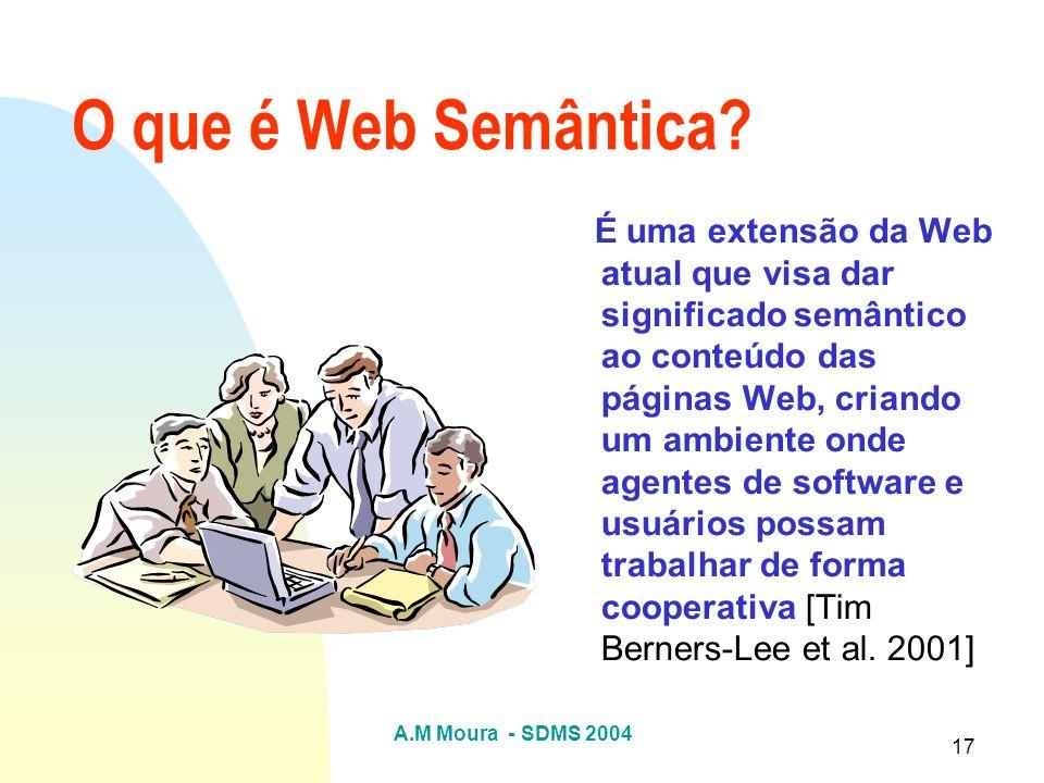 A.M Moura - SDMS 2004 17 O que é Web Semântica? É uma extensão da Web atual que visa dar significado semântico ao conteúdo das páginas Web, criando um