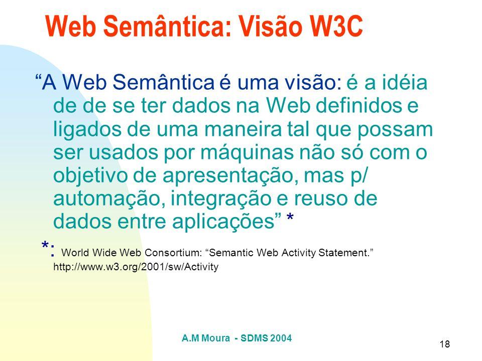 A.M Moura - SDMS 2004 18 Web Semântica: Visão W3C A Web Semântica é uma visão: é a idéia de de se ter dados na Web definidos e ligados de uma maneira