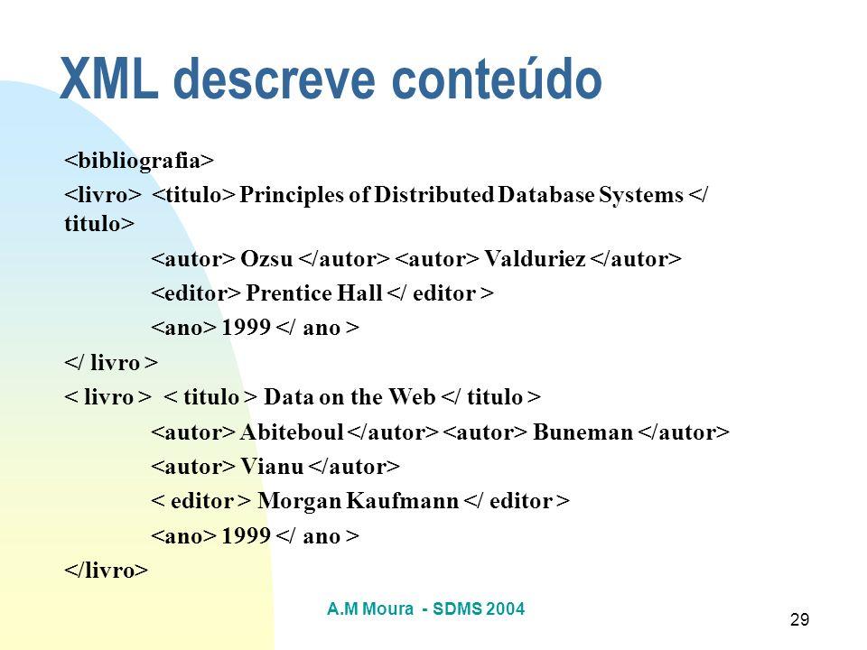 A.M Moura - SDMS 2004 29 Principles of Distributed Database Systems Ozsu Valduriez Prentice Hall 1999 Data on the Web Abiteboul Buneman Vianu Morgan K