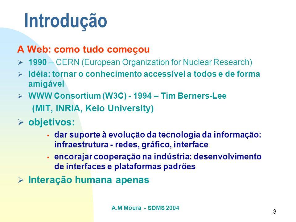 A.M Moura - SDMS 2004 3 Introdução A Web: como tudo começou 1990 – CERN (European Organization for Nuclear Research) Idéia: tornar o conhecimento acce