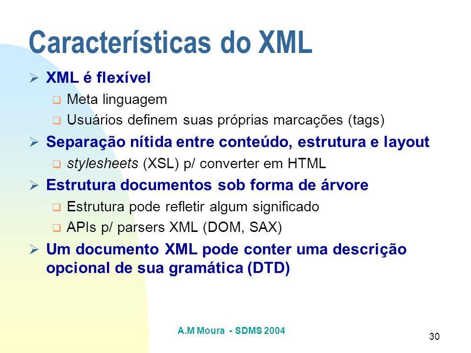 A.M Moura - SDMS 2004 30 Características do XML XML é flexível Meta linguagem Usuários definem suas próprias marcações (tags) Separação nítida entre c