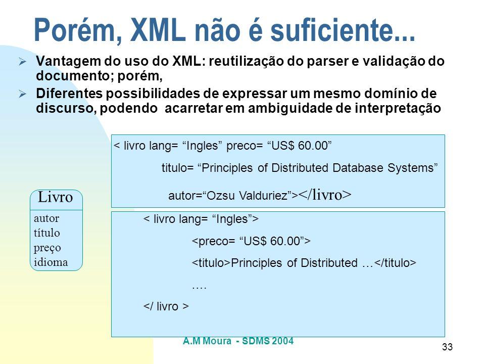 A.M Moura - SDMS 2004 33 Porém, XML não é suficiente... Vantagem do uso do XML: reutilização do parser e validação do documento; porém, Diferentes pos