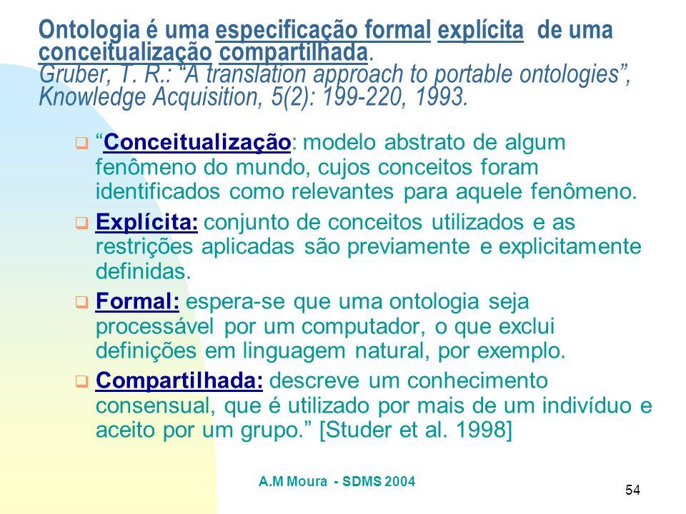 A.M Moura - SDMS 2004 54 Ontologia é uma especificação formal explícita de uma conceitualização compartilhada. Gruber, T. R.: A translation approach t