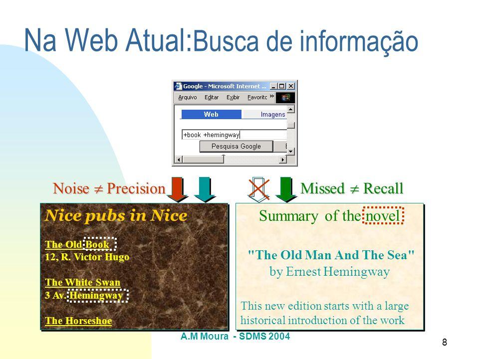 A.M Moura - SDMS 2004 9 Pesquisa, Recuperação, Organização e Extração de Recursos na Web Estratégias importantes Mecanismos de busca Bibliotecas digitais Linguagens de consulta Web Mecanismos de extração (wrappers)