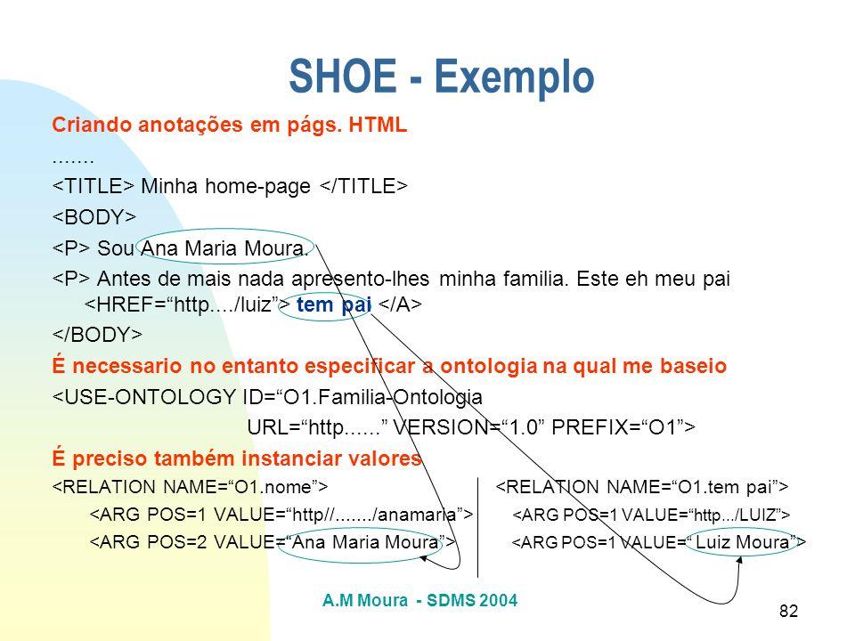 A.M Moura - SDMS 2004 82 SHOE - Exemplo Criando anotações em págs. HTML....... Minha home-page Sou Ana Maria Moura. Antes de mais nada apresento-lhes