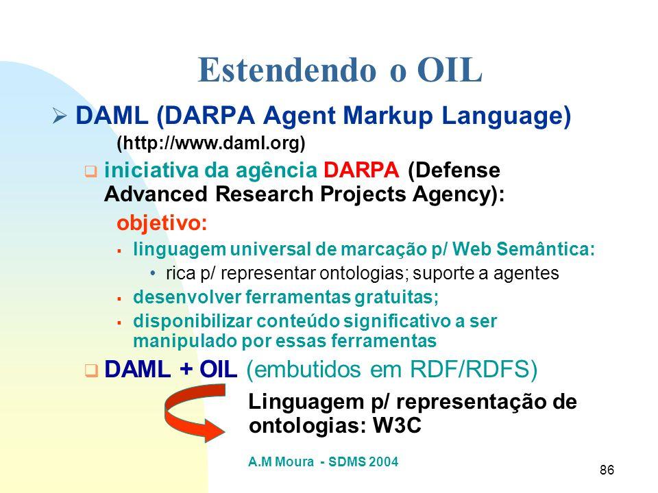 A.M Moura - SDMS 2004 86 DAML (DARPA Agent Markup Language) (http://www.daml.org) iniciativa da agência DARPA (Defense Advanced Research Projects Agen