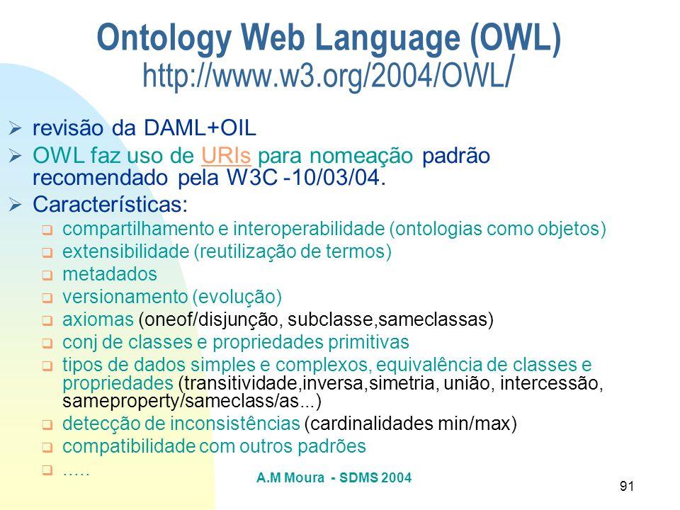 A.M Moura - SDMS 2004 91 Ontology Web Language (OWL) http://www.w3.org/2004/OWL / revisão da DAML+OIL OWL faz uso de URIs para nomeação padrão recomen