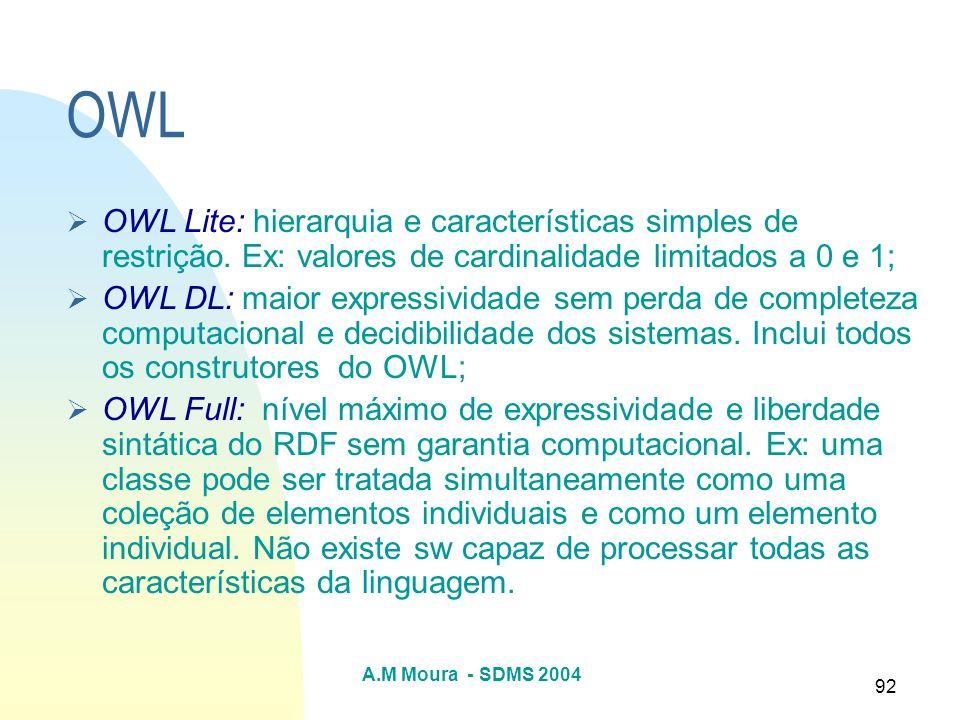 A.M Moura - SDMS 2004 92 OWL OWL Lite: hierarquia e características simples de restrição. Ex: valores de cardinalidade limitados a 0 e 1; OWL DL: maio