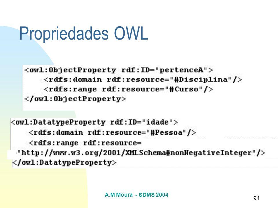 A.M Moura - SDMS 2004 94 Propriedades OWL