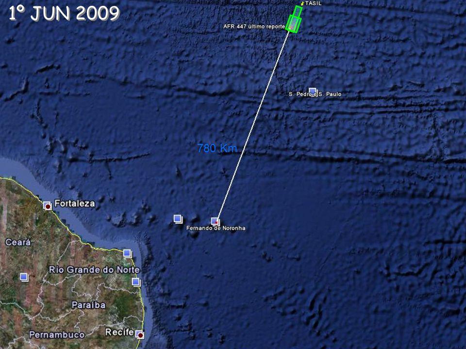 849 KmPlanejado 6 JUN 2009 69,5 KM 08h07 - O C-130 confirmou visualmente a existência de destroços na área.