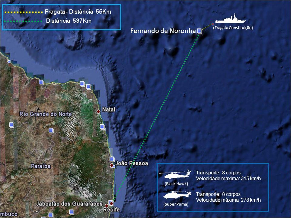 Fernando de Noronha Fragata - Distância 55Km Distância 537Km (Fragata Constituição) (Black Hawk) (Super Puma) Transporte: 8 corpos Velocidade máxima: