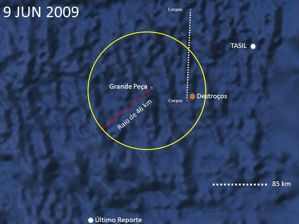 TASIL Destroços Grande Peça Último Reporte Corpos Raio de 46 km Corpos 9 JUN 2009 85 km