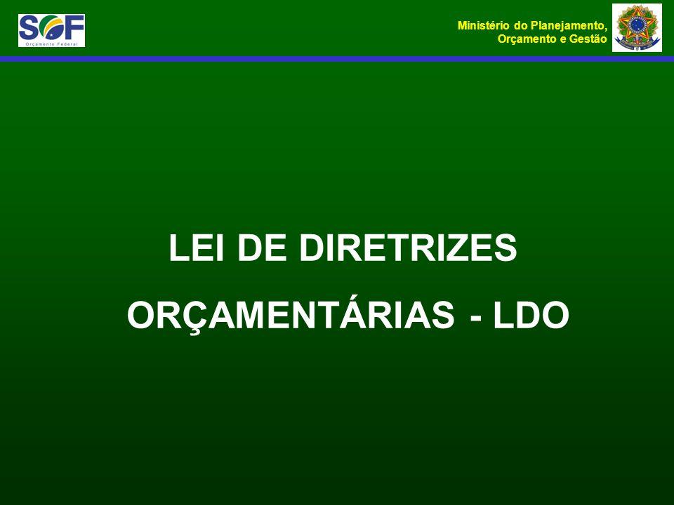 Ministério do Planejamento, Orçamento e Gestão LEI DE DIRETRIZES ORÇAMENTÁRIAS - LDO