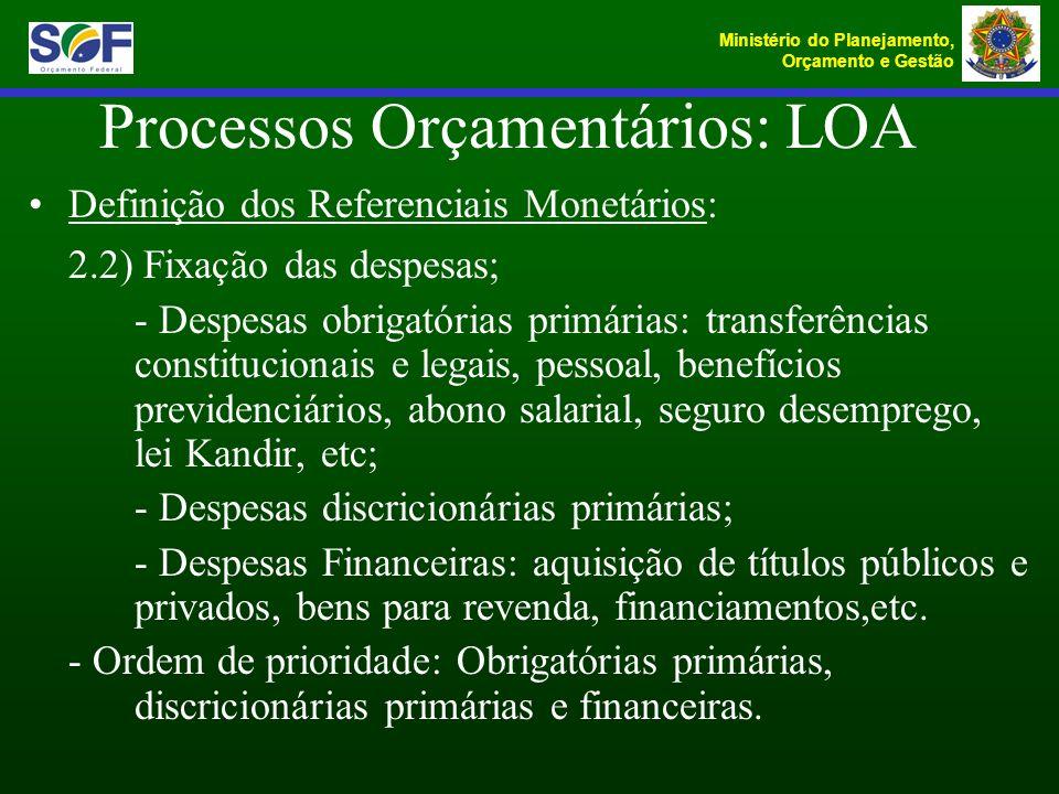 Ministério do Planejamento, Orçamento e Gestão Definição dos Referenciais Monetários: 2.2) Fixação das despesas; - Despesas obrigatórias primárias: tr