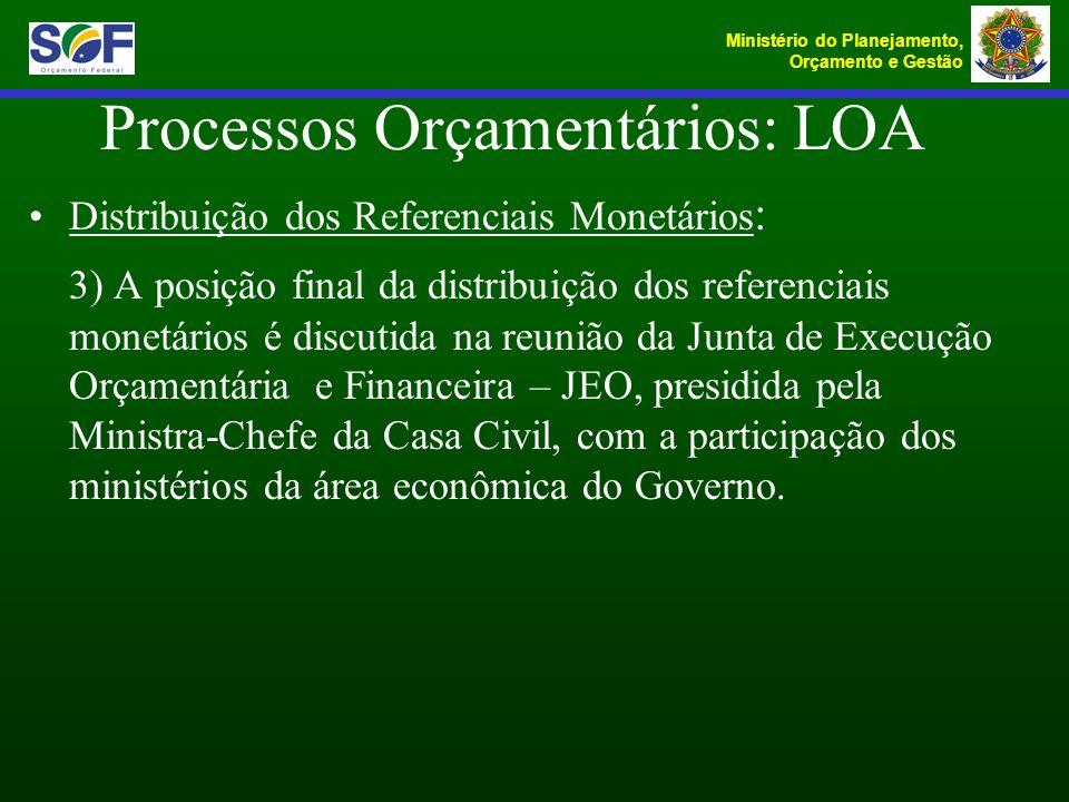 Ministério do Planejamento, Orçamento e Gestão Processos Orçamentários: LOA Distribuição dos Referenciais Monetários : 3) A posição final da distribui