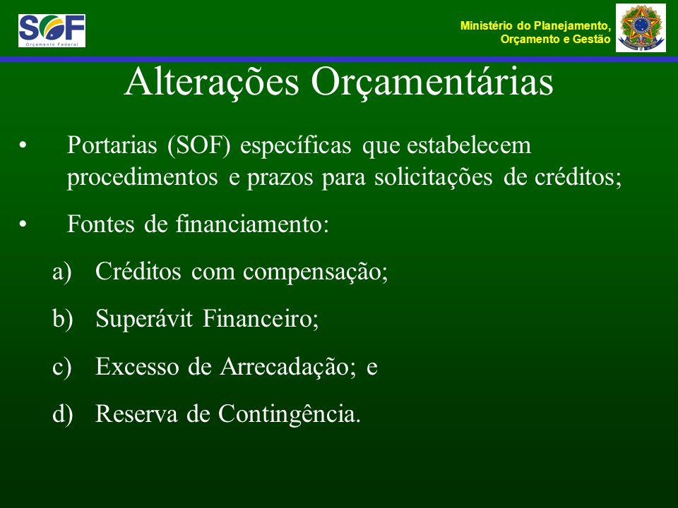 Ministério do Planejamento, Orçamento e Gestão Portarias (SOF) específicas que estabelecem procedimentos e prazos para solicitações de créditos; Fonte