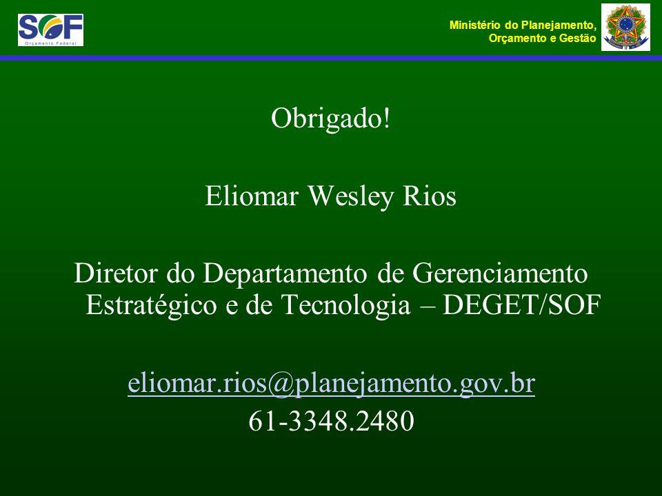 Ministério do Planejamento, Orçamento e Gestão Obrigado! Eliomar Wesley Rios Diretor do Departamento de Gerenciamento Estratégico e de Tecnologia – DE