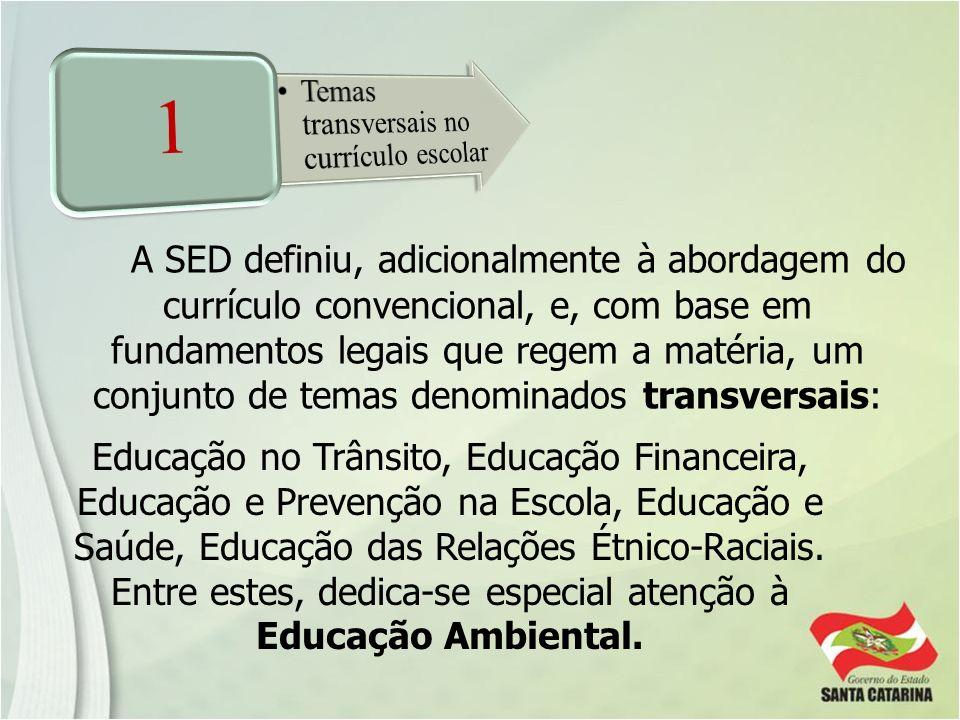 A SED definiu, adicionalmente à abordagem do currículo convencional, e, com base em fundamentos legais que regem a matéria, um conjunto de temas denom