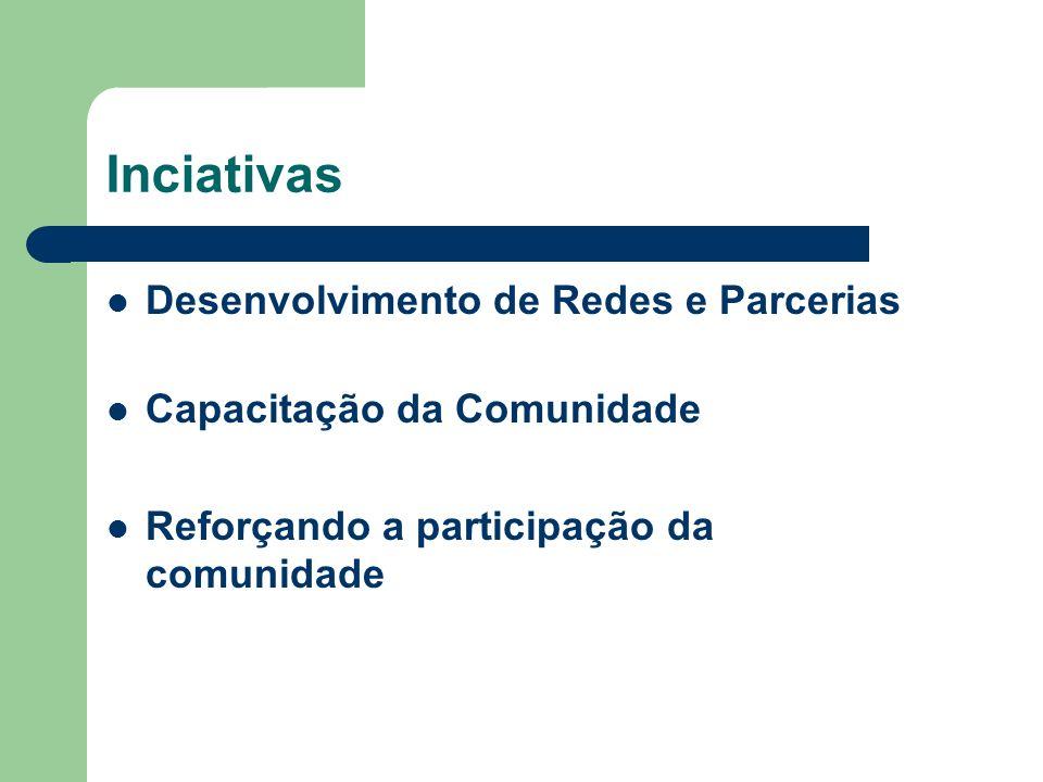 Inciativas Desenvolvimento de Redes e Parcerias Capacitação da Comunidade Reforçando a participação da comunidade