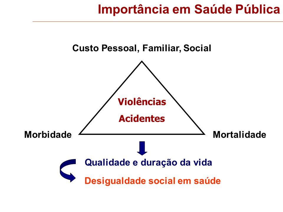 MortalidadeMorbidade Violências Acidentes Custo Pessoal, Familiar, Social Qualidade e duração da vida Desigualdade social em saúde Importância em Saúd