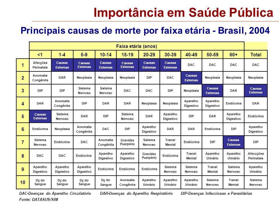 Magnitude Óbitos por causas externas segundo faixa etária e sexo Brasil, 2004 Fonte: DATASUS/SIM Óbitos/100 mil 300 150 0 Faixa etária (anos) Masculino Feminino 200 250 100 50