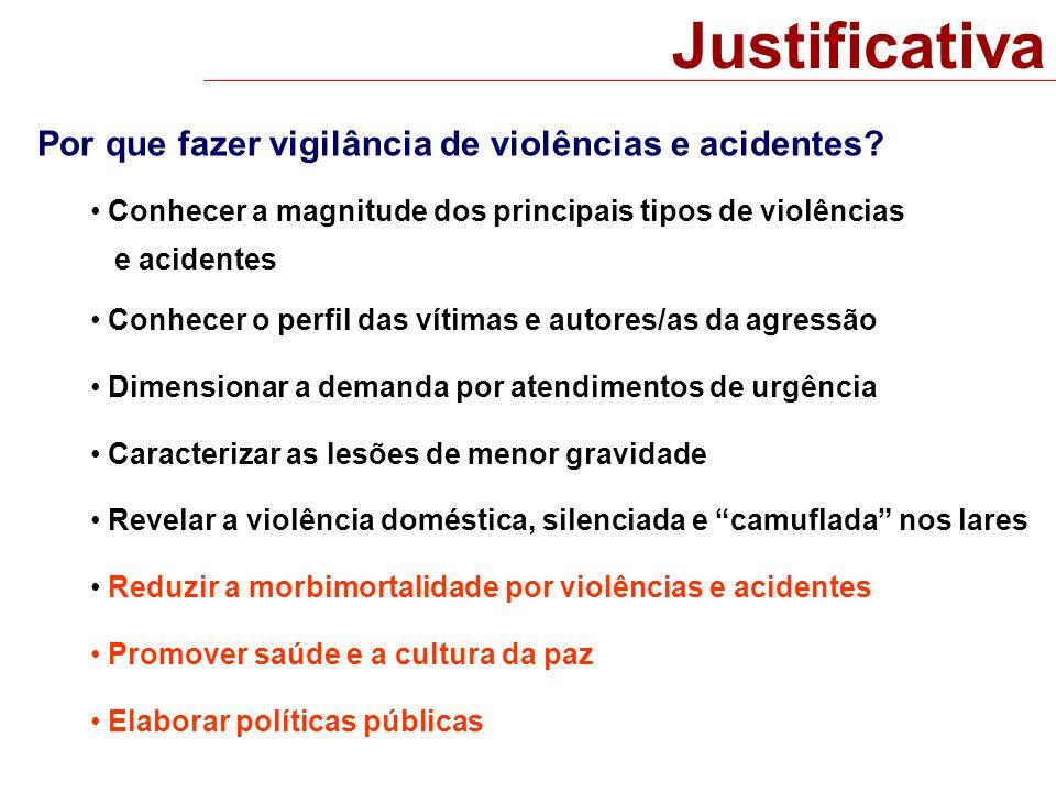 Justificativa Por que fazer vigilância de violências e acidentes? Conhecer a magnitude dos principais tipos de violências e acidentes Conhecer o perfi
