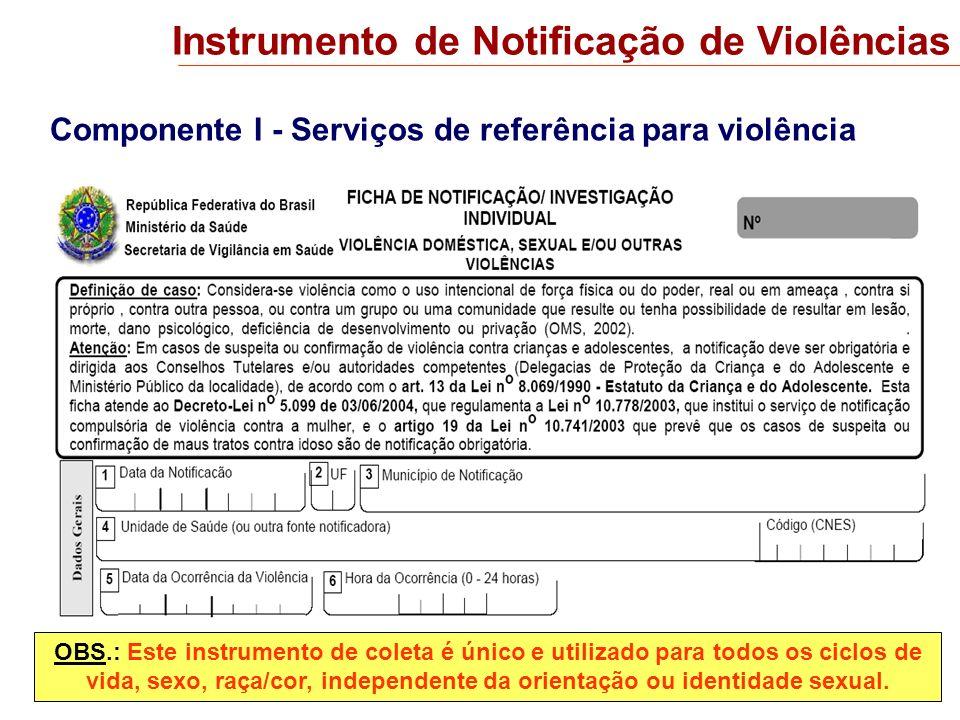 Componente I - Serviços de referência para violência Instrumento de Notificação de Violências OBS.: Este instrumento de coleta é único e utilizado par