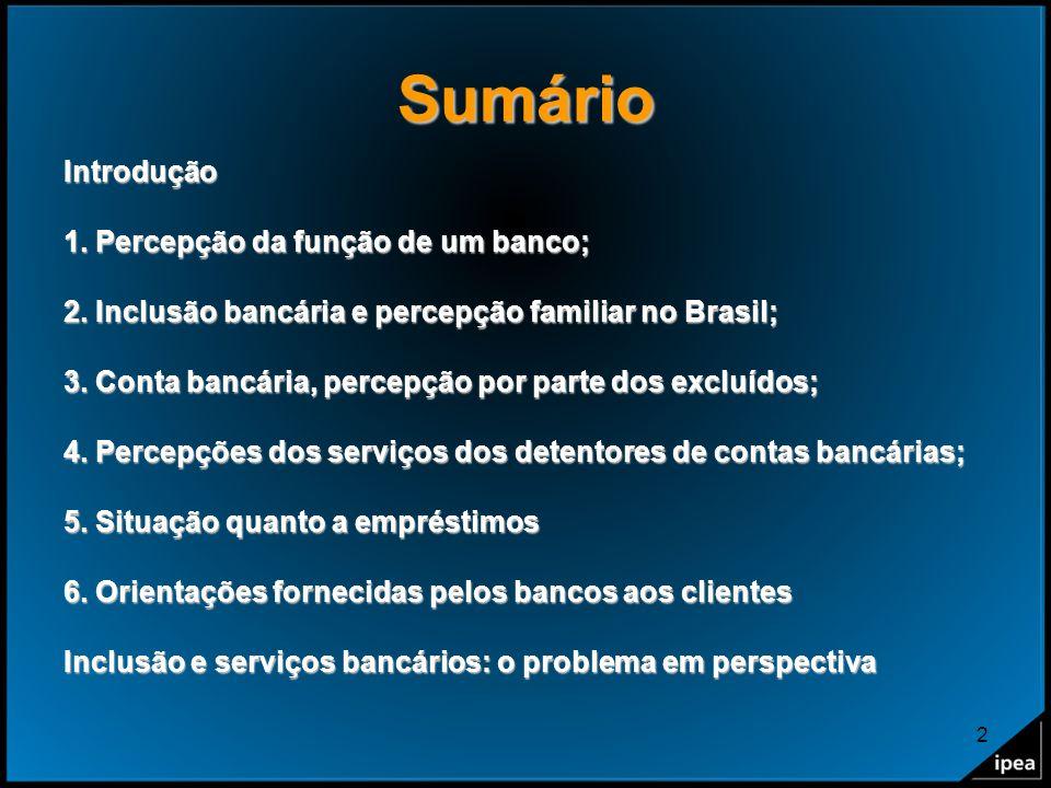 2 Sumário Introdução 1. Percepção da função de um banco; 2. Inclusão bancária e percepção familiar no Brasil; 3. Conta bancária, percepção por parte d