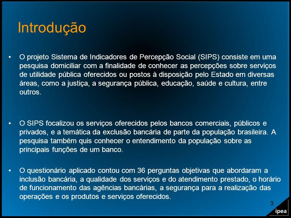 3 Introdução O projeto Sistema de Indicadores de Percepção Social (SIPS) consiste em uma pesquisa domiciliar com a finalidade de conhecer as percepçõe