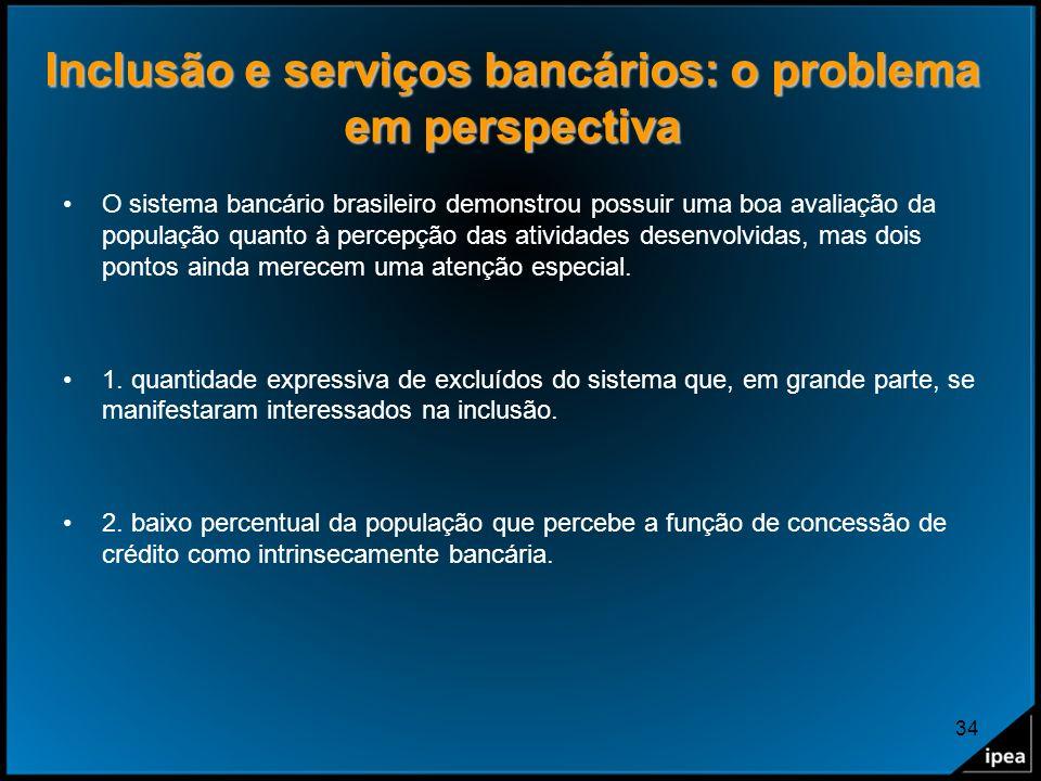 34 Inclusão e serviços bancários: o problema em perspectiva O sistema bancário brasileiro demonstrou possuir uma boa avaliação da população quanto à p