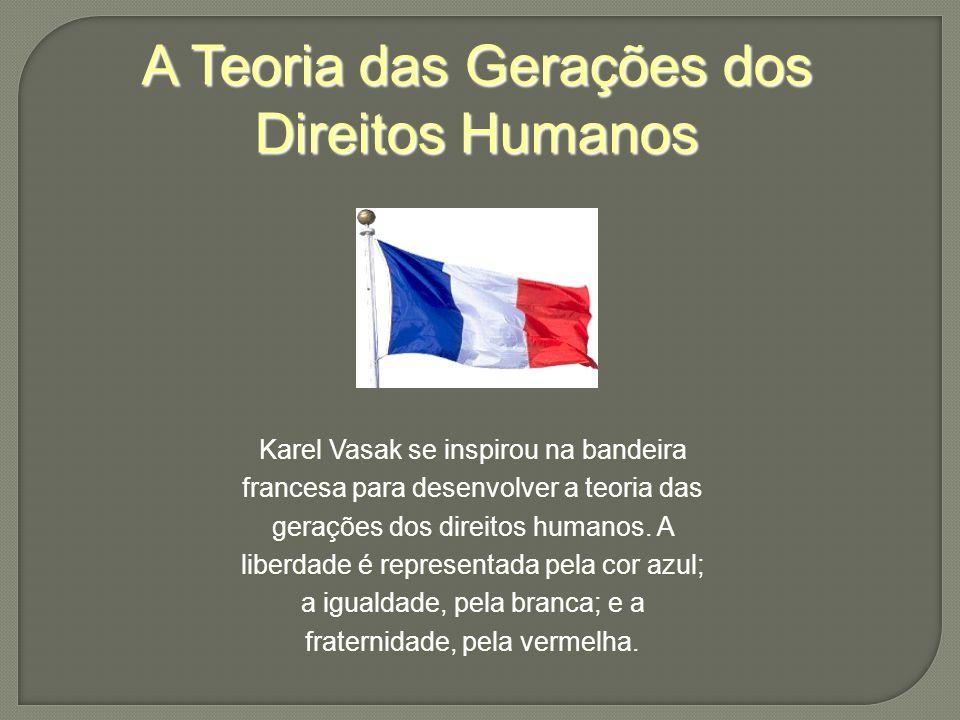A Teoria das Gerações dos Direitos Humanos Karel Vasak se inspirou na bandeira francesa para desenvolver a teoria das gerações dos direitos humanos.