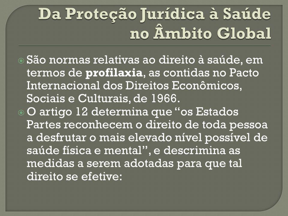 São normas relativas ao direito à saúde, em termos de profilaxia, as contidas no Pacto Internacional dos Direitos Econômicos, Sociais e Culturais, de 1966.