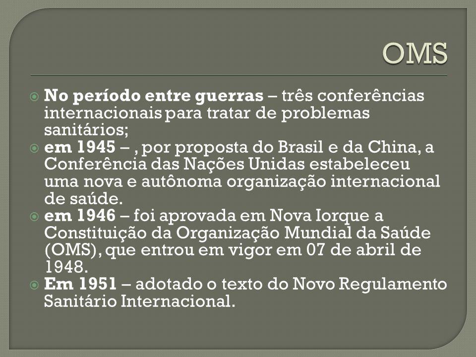 No período entre guerras – três conferências internacionais para tratar de problemas sanitários; em 1945 –, por proposta do Brasil e da China, a Conferência das Nações Unidas estabeleceu uma nova e autônoma organização internacional de saúde.