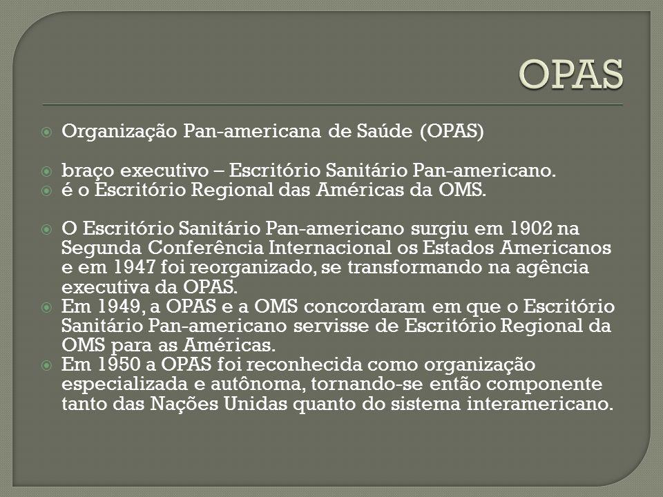 Organização Pan-americana de Saúde (OPAS) braço executivo – Escritório Sanitário Pan-americano.