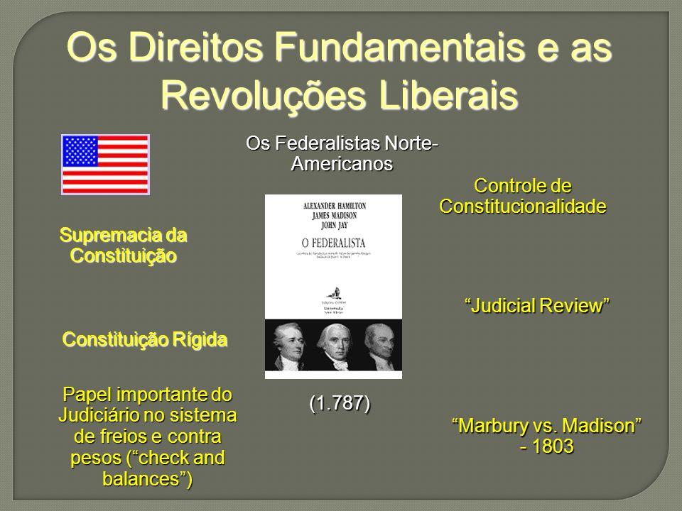 Os Direitos Fundamentais e as Revoluções Liberais Os Federalistas Norte- Americanos (1.787) Supremacia da Constituição Constituição Rígida Controle de Constitucionalidade Judicial Review Marbury vs.