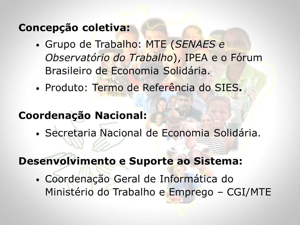 Concepção coletiva: Grupo de Trabalho: MTE (SENAES e Observatório do Trabalho), IPEA e o Fórum Brasileiro de Economia Solidária. Produto: Termo de Ref