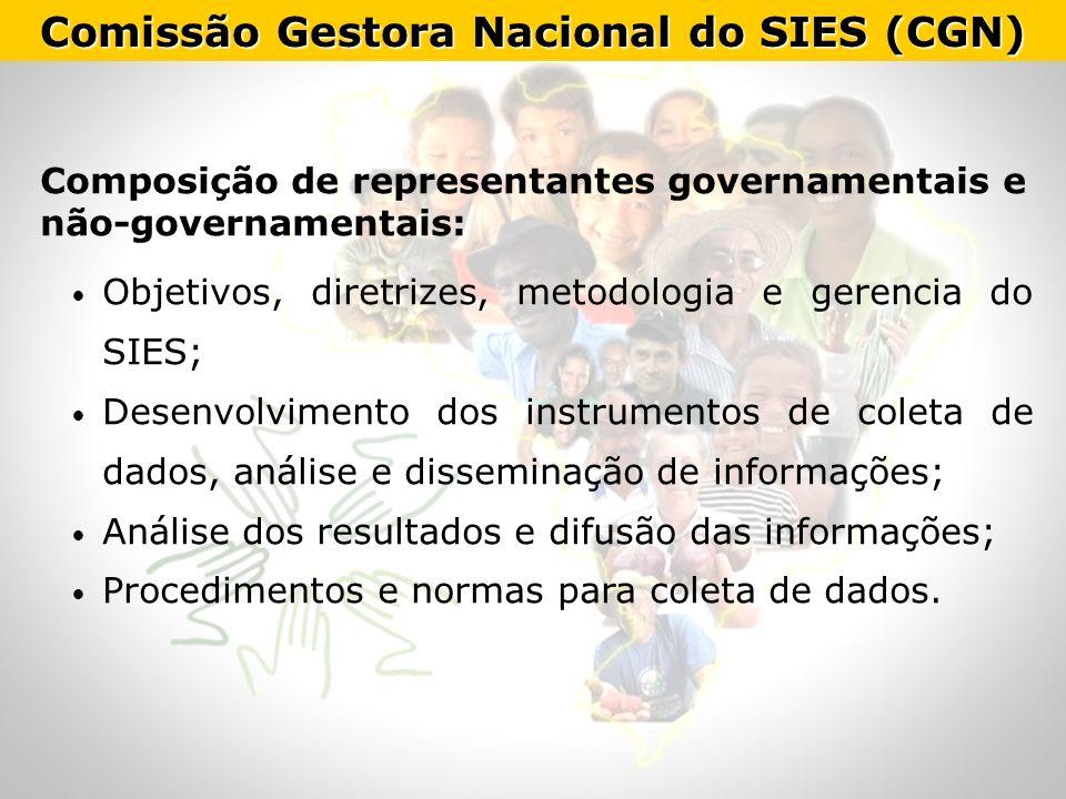 Comissão Gestora Nacional do SIES (CGN) Composição de representantes governamentais e não-governamentais: Objetivos, diretrizes, metodologia e gerenci