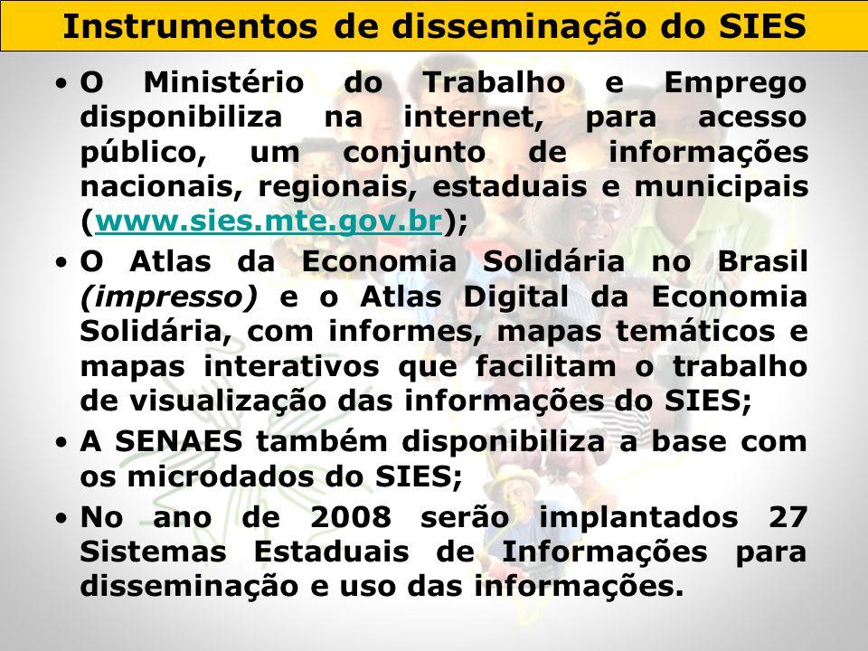 O Ministério do Trabalho e Emprego disponibiliza na internet, para acesso público, um conjunto de informações nacionais, regionais, estaduais e munici
