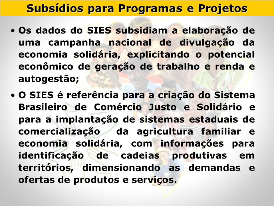 Os dados do SIES subsidiam a elaboração de uma campanha nacional de divulgação da economia solidária, explicitando o potencial econômico de geração de