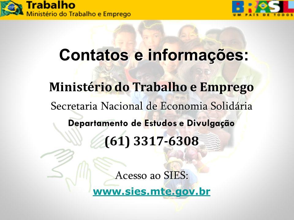 Ministério do Trabalho e Emprego Secretaria Nacional de Economia Solidária Departamento de Estudos e Divulgação (61) 3317-6308 Acesso ao SIES: www.sie