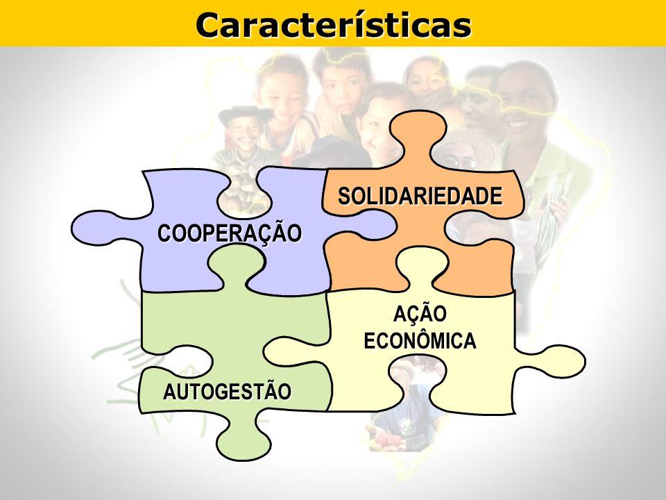 CaracterísticasCOOPERAÇÃO AÇÃO ECONÔMICA SOLIDARIEDADE SOLIDARIEDADE AUTOGESTÃO