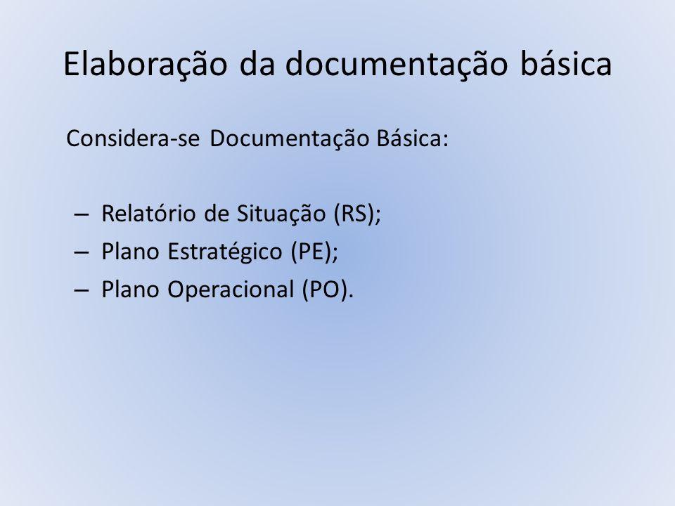 Elaboração da documentação básica Considera-se Documentação Básica: – Relatório de Situação (RS); – Plano Estratégico (PE); – Plano Operacional (PO).