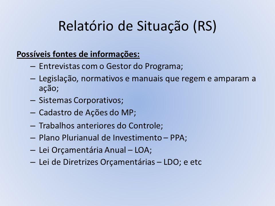 Relatório de Situação (RS) Possíveis fontes de informações: – Entrevistas com o Gestor do Programa; – Legislação, normativos e manuais que regem e amp