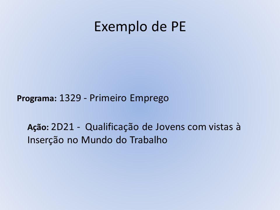 Exemplo de PE Programa: 1329 - Primeiro Emprego Ação: 2D21 - Qualificação de Jovens com vistas à Inserção no Mundo do Trabalho