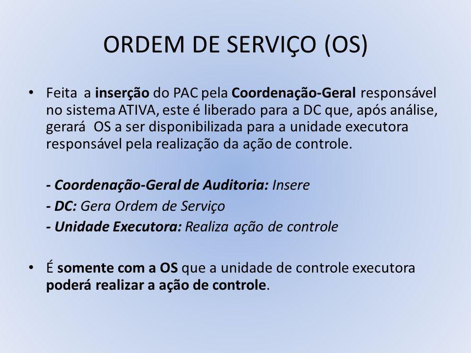 ORDEM DE SERVIÇO (OS) Feita a inserção do PAC pela Coordenação-Geral responsável no sistema ATIVA, este é liberado para a DC que, após análise, gerará