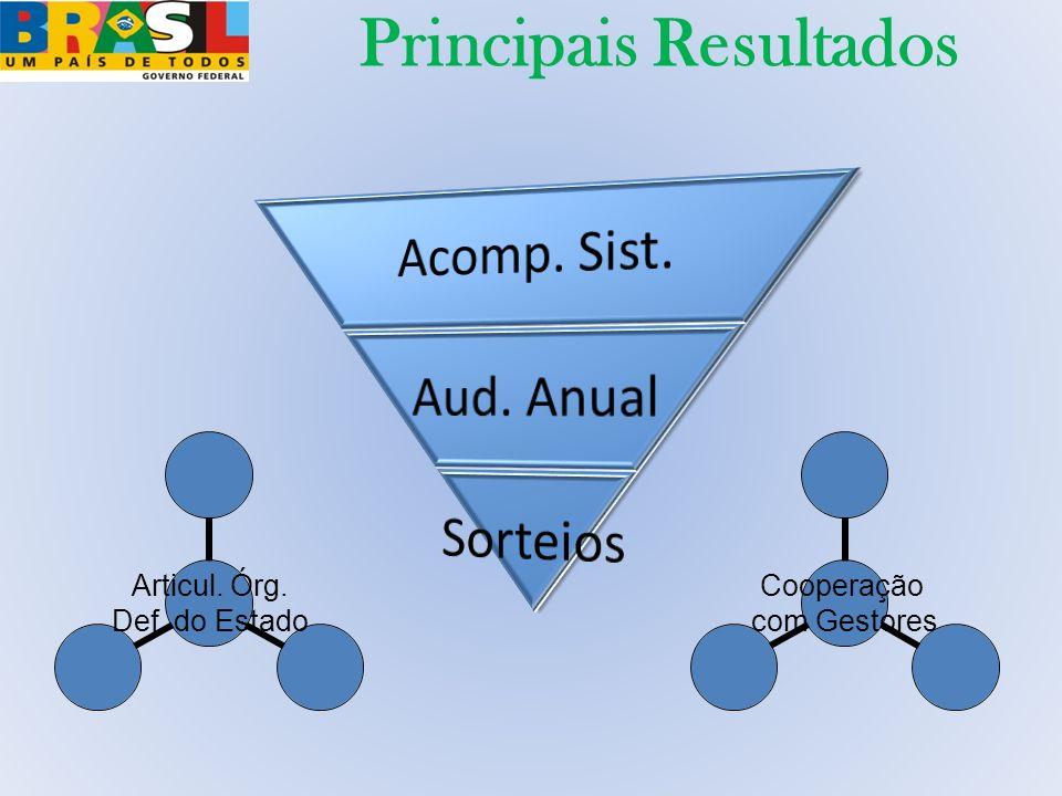 Principais Resultados Cooperação com Gestores Articul. Órg. Def. do Estado