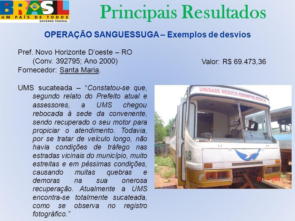 Pref. Novo Horizonte Doeste – RO (Conv. 392795; Ano 2000) Fornecedor: Santa Maria. UMS sucateada – Constatou-se que, segundo relato do Prefeito atual