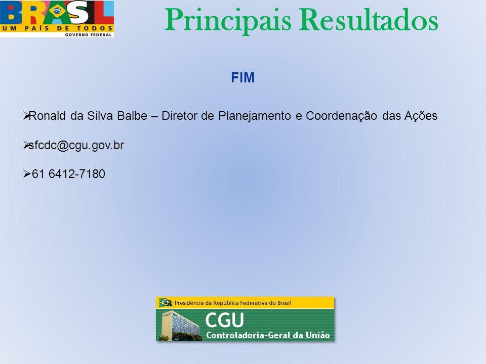 FIM Ronald da Silva Balbe – Diretor de Planejamento e Coordenação das Ações sfcdc@cgu.gov.br 61 6412-7180 Principais Resultados