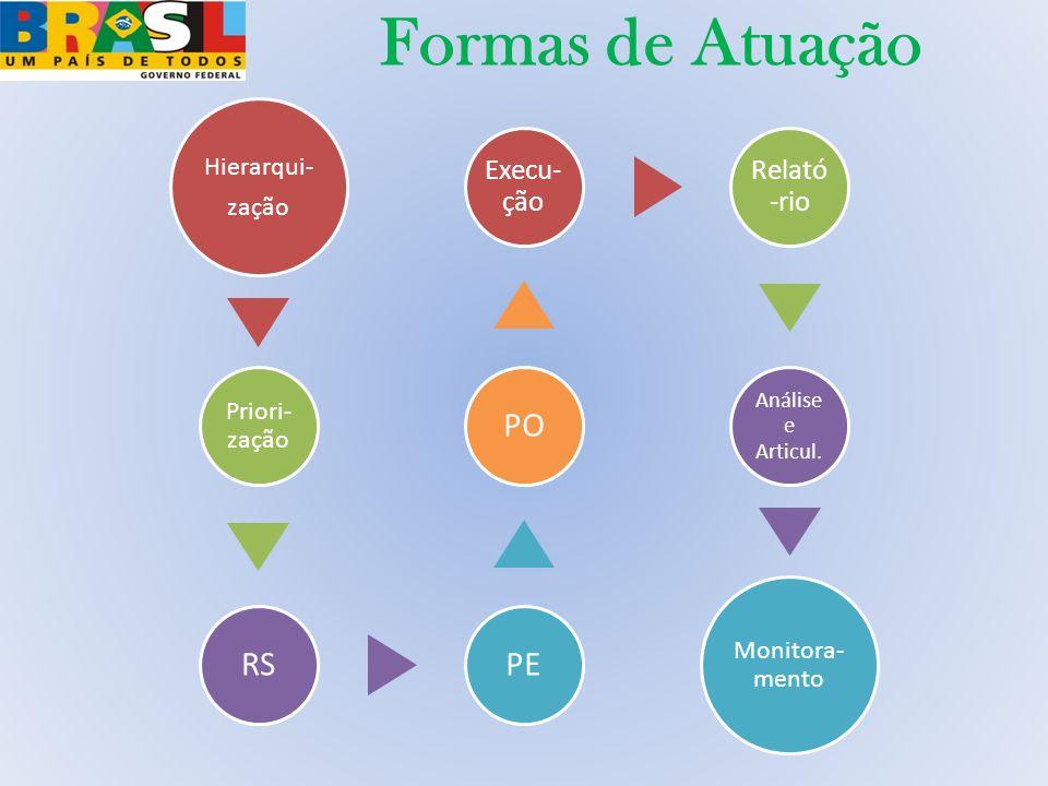 Formas de Atuação Hierarqui- zação Priori- zação RSPEPO Execu- ção Relató -rio Análise e Articul. Monitora- mento