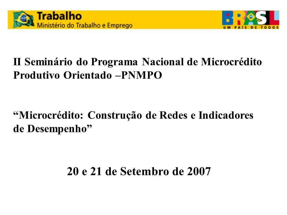 II Seminário do Programa Nacional de Microcrédito Produtivo Orientado –PNMPO Microcrédito: Construção de Redes e Indicadores de Desempenho 20 e 21 de